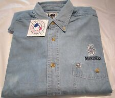 MLB Seattle Mariners Long Sleeve  Denim Shirt Medium  Left Pocket Embroidery