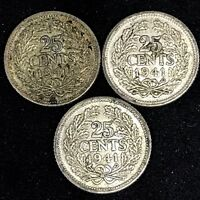 1941~ Netherlands ~25 Cents ( Lot Of 3)~ KM# 164,  Silver Coins.