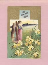 Lovely Full-Length ANGEL, Daffodils On German-Made Vintage EASTER Postcard