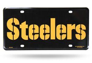 Pittsburgh Steelers Black Wordmark 12x6 Auto Metal License Plate Tag