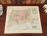 Original 1882 Antique Map MASSACHUSETTS CONNECTICUT RHODE ISLAND 136-years-old