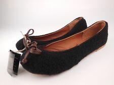 VINTAGE SHOE COMPANY Morgan Black Wool Leather Ballet Flats Shoes Sz 9 M