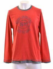 Adidas Para Hombre Top Algodón Manga Larga Rojo Grande IJ01