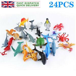 24PCS Ocean Toys Sea Creatures Plastic Figure Dolphin Turtle Whale Animals UK