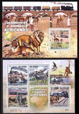 Sao Tome 2009 MNH SS+MS, Wild Animals Railways, Train, Lion, Elephants, Bridge