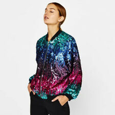 Punk Style Contrast Color Sequined Jacket - Green/Rose