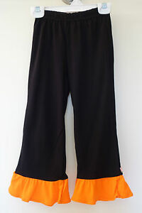Brand New Lolly Wolly Doodle Black/Orange Ruffle Pants Girl's Size 2