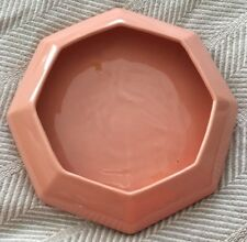 VTG MidCentury Mod Planter Shallow Geometric Coral Pink Octagonal Bonsai VASE
