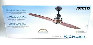 "KICHLER Ceiling Fan 56"" Satin Antique Pewter W/remote,Rosewood Finish 2 Blade"