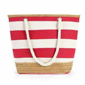 Stripe Handbags Summer Canvas Beach Bags Large Capacity Female Shopping Totes