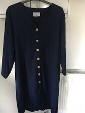 VINTAGE DUO DELUX SIZE 42-44 DARK  BLUE BUTTON DOWN DRESS WITH SLIT SIDES BNWT