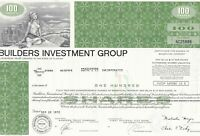 U. S. Builders Investment Group 1972 Illustrated 100 Shares Certificate Rf 39563