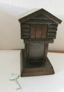 Alaska State Bank for coins, vintage, bronze color metal, w/key, Banthrico Inc