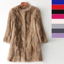 Luxueux Coat Femme Manteau Long Fourrure Vraie domestique Lapin Veste Hiver
