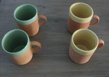 4 Romertopf TERRA ROSA RECO Clay Mugs Yellow Green Nice! Scarce!