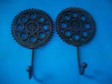 2 Cast Iron Gear Wheel Look Wall Hooks Steampunk Look