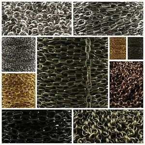 1m/5m Iron Chain Open Link Cable Seed Rolo Come on Reel Complex Jewelry Findings