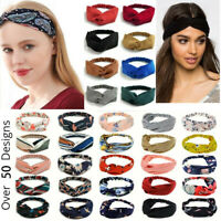 Boho Floral Twist Knot Headband Elastic Wrap Turban Hairband Hair Band Sports