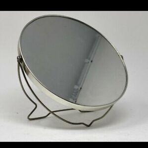 Vintage Makeup Mirror Round Metal Silver