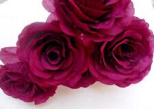 6 plum FAUX SILK ROSE FLOWER STEM (NOT FOAM)BRIDAL/CRAFT/BUTTONHOLE/BOUQUET