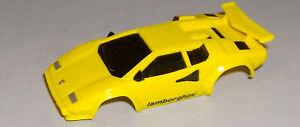 """NEW"" TYCO YELLOW LAMBORGHINI HO SLOT CAR BODY (NARROW CHASSIS)"