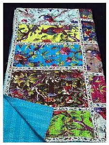 Indian patchwork Kantha Quilt Handmade silk Comforter Blanket Bedding throw f