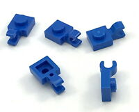 Lego Lot of 5 New Blue Plates Modified 1 x 1 with Clip Horizontal Pieces
