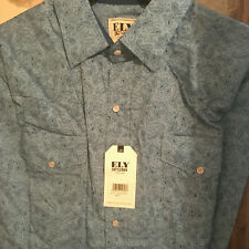 Western Ely Cattleman Men's TALL Long Sleeve Shirt Paisley Blue 100% Cotton