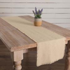 """BURLAP VINTAGE Natural 72"""" Table Runner Fringed Primitive Farmhouse - VHC Brands"""