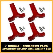 HANDLE 4PCS SET OF 50 AMP ANDERSON RED T-HANDLE  STYLE PLUG / CONNECTORS T-BAR