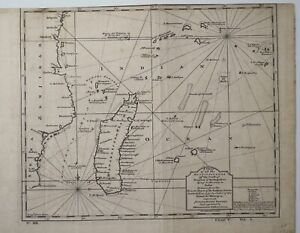 Antique Map Known Islands off the African Coast of Zanzibar & Madagascar 1743 Ki