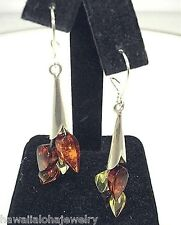 925 Silver Genuine Baltic Sea Mixed Amber Fluted Teardrop Kidney Earrings #2