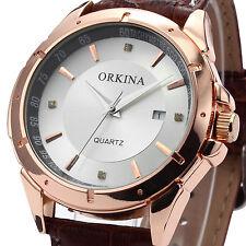 Orkina Rose Gold Case Date Analog Quartz Sport Coffee Leather Mens Wrist Watch