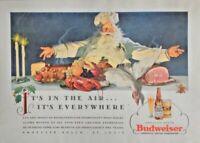 1938 BUDWEISER Christmas Print Ad Beer Liquor Friendliness Hospitality Santa