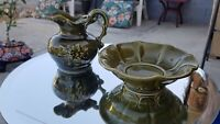 Vintage 1970's McCoy USA Made Smaller Size Pitcher With Bowl Set Avocado Green