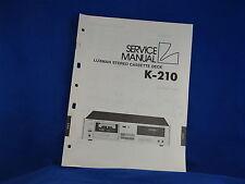 Luxman K-210 Cassette Deck Service Manual