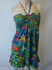 BNWT NEW Ladies Green/Blue Flower Print Long Halterneck Vest Top UK 8 EU 36