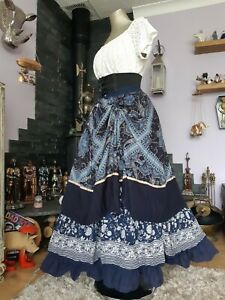 FAB OOAK NAVY STAGGERED LAYER HITCH BUSTLE SKIRT FREESIZE 6-20