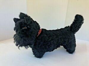 """RARE Large Vtg Steiff Mohair SCOTTY Scottish Terrier Dog Red Collar Ear Tag 13"""""""