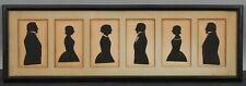 6 Miniature Antique 19thC Folk Art Cut-Paper Painted Family Portrait Silhouettes