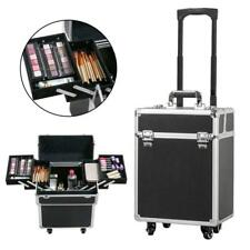 Large Black Professional Cosmetic Makeup Rolling Travel Vanity Trolley Case Box