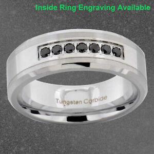 8mm Tungsten Silver Brush Top Black Cubic Zirconia Bevel Edge Mens Wedding Band