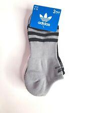 Adidas 3 Pk Men's No Show Socks Black/White/Gray CH7699 size 6-12 NWT