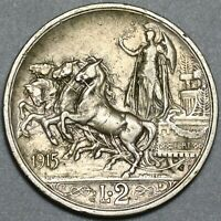 1915 Italy 2 Lire Horses & Chariot Silver VF Coin (20122701R)
