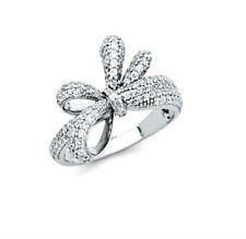 Sterling Silver Fancy Bow Ribbon Ring with Man made Diamonds Size 5 6 7 8 9