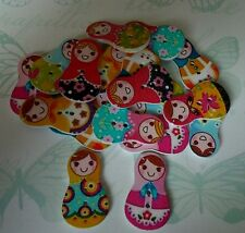 10 x Russian Doll Wooden Buttons Random Mixed Colours Christmas Crafts