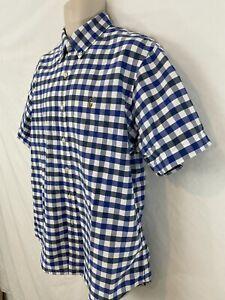 Ralph Lauren Mens XL Blue Gingham Plaid Button Front Cotton Short Sleeve Shirt