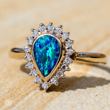 Pear Shaped Australian Doublet Opal & Diamond Engagement Ring 14K Yellow Gold