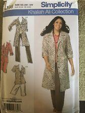 Simplicity 4198 Khaliah Ali Shirt, Dress, Pants, Shorts, Skirt 18W-24W Uncut