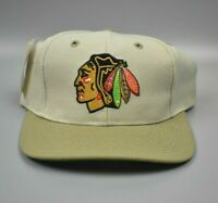 Chicago Blackhawks Twins Enterprise Vintage 90s Spell Out Snapback Cap Hat - NWT